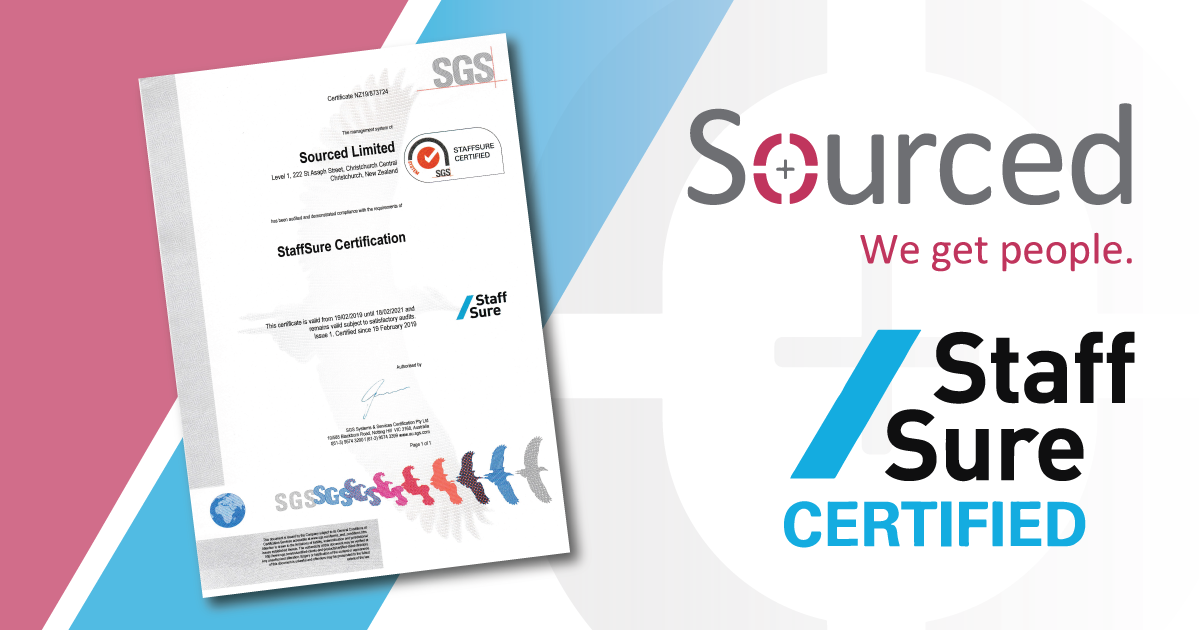 Sourced are specialists in the IT & technology recruitment verticals. We take our responsibilities seriously. Sourced are an Accredited RCSA Recruitment Provider, we are members of the Canterbury Software Cluster and are regularly invited to sit on industry advisory boards and task forces, both locally and nationally.